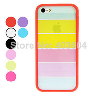 Transparent Rainbow Style TPU Frame Hard Case for iPhone 5/5S (Optional Colors)