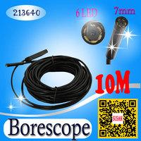 7mm 10m USB Borescope Endoscope Inspection Camera  6 LED IP67 Waterproof Mini Camera snake camera