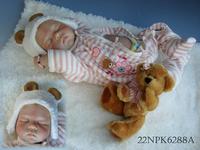 "22""/55cm Sleeping newborn girl soft silicone vinyl sleeping reborn baby doll handmade lifelike baby toys Free shipping"