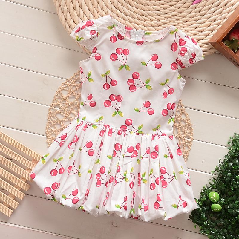The New summer white strawberry cotton girls dress, princess dress, beautiful kids dress, good quality zl(China (Mainland))