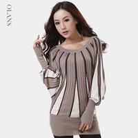 Womens Casual Loose Stripes Knitted Sweater Plus Size Knitwear Pullovers Oversized Sweater Woolen Wear XL + Free Gift