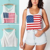 2014 Trendy Summer American Flag Printed Sleeveless Short Style Shirt White USA Tank Vest Tops
