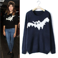 Street fashion bat pattern sweater thick sweater round neck long-sleeved blouse women