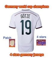 Mario Gotze Germany 2014 World Cup champion new Jersey with 4 stars home white clour with world cup patch winner patch 4th star