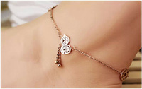 Elegant Wedding Hyacinth copper coins Titanium Steel Rose Gold Women Barefoot Sandals Anklet Foot Chain Jewelry Gift,S073