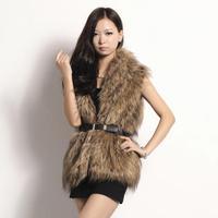new 2014 free shipping  Artificial fur Fashion popular imitation raccoon fur vest vest fur coat