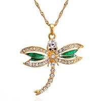 Nanotechnology Free Shipping lady dragonfly shape hypoallergenic easy leg color gold-plated brass necklace
