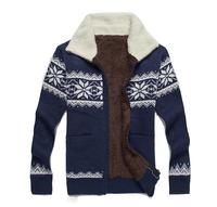 2014 High Quality Winter Men'S Thick Plus Velvet Snow Sweater Men'S Sweater Cardigan Winter Liner Fluff Sweater Coat XG3-28