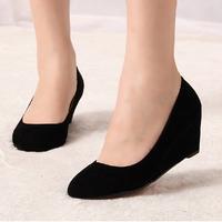 Free shipping HOT SALES ! Autumn women's pumps velvet wedges single shoes round toe work black shoes plus size 35~40