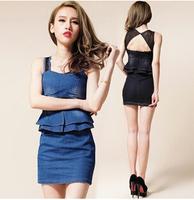 High Quality Summer Dress 2014 Women Clothing Fashion Denim Sleeveless Casual Jeans Lady Paty Club Sexy Blue Black Slim Dresses