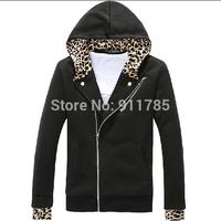 2014 new Autumn Oblique zipper Brushed Leopard hooded sport sweatshirt men casual slim fit hooded Cardigan Outerwear,M-XXL,833