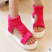 New 2014 high quality handmade women sandals fashion Hand-woven sandals summer platform women shoes comfortable platform sandals