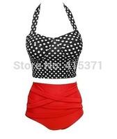 2014 New Arrival Retro Style Women's Halterneck High-Waisted Polka Dot Bikini Set For Women In Summer Women's Fashion Swimsuit