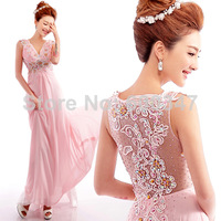 Lady Pink Lace Diamond V-Neck Sleeveless Transparent Back Floor Length Formal Evening Dresses,Prom Party Dress Gown 2014 New