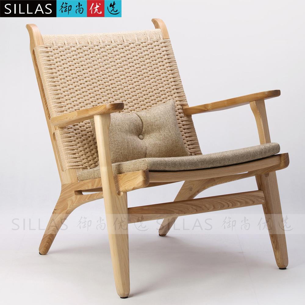 Chair wood logs braided rope font b lounge b font chair modern