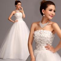 2014 New Organza Lady Flower Strapless Floor Length Zipper Formal Wedding Dress,Bridal Gown