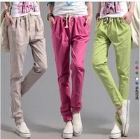 New 2014 Women's Linen Harem Pants Plus Size High Waist Cargo Pants Sweatpants Women Loose Pants Free Shipping