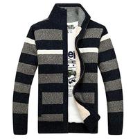 2014 Autumn New Men'S Sweater Coat Stand Collar Wool Sweater Men Striped Pattern Plus Villus Knitted Sweater Coat XG3-30