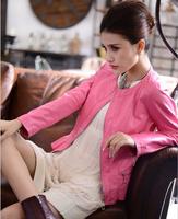 2014 hot sell brand women Korean Slim-fitting genuine leather jacket coat  women motorcycle jacket coat free shipping M - XXL