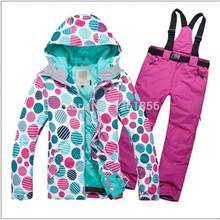 Free shipping Hot sale lady snowboard ski suit jacket clothes sets pants windproof waterproof(China (Mainland))