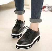 New 2014 autumn fashion Korea Stylenanda style Harajuku shoes punk lace up shoes, square head black creepers platform shoes