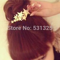 New 2014 Korean fashion brand gold stars barrettes Hairpins side clip wedding bridal hair accessories for women