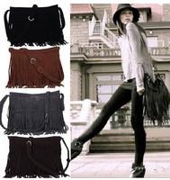 Hot fashion women messenger bag tassel fringe women's handbag cross body shoulder bag high quality brown bolsa feminina