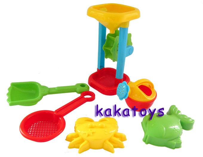 High quality Beach hourglass Waterwheel 6P/sets Sand mold Tool Shower Bath Water toys Beach resort(China (Mainland))