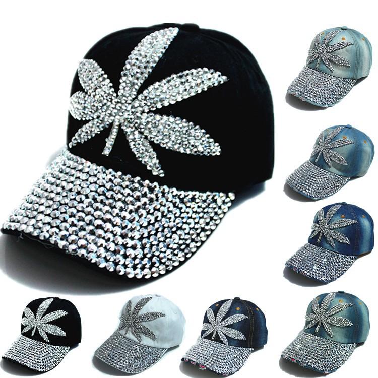 Vente en gros nouvelle populaire. femelle, filles. cristal de diamant snapback bouchon chapeau mode femme jeans hip hop casquette de baseball chapeaux des femmes