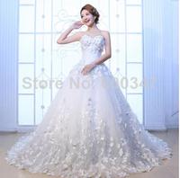 New Autumn 2014 Lady White Korea Satin Handmade Flowers Beading Strapless Floor Length Long Train Wedding Dresses Bridal Gown