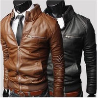 2014 New Men's Suit PU Leather Jacket Man Products Mens Fashion Transverse Slim Leather Jackets For Men 3 Color Plus Size M-XXXL