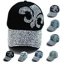 wholesale  fashion hat caps sunshading men and women's  baseball cap rhinestone hat  denim and cotton snapback cap
