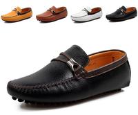 Eur size39-44  New 2014 Genuine leather men Casual Flats driving shoes,Business men flat shoes original branded men shoes