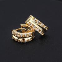 New 18K Gold Plated Hoop Earrings for Women Sparkle Stone Crystal Earrings #gib