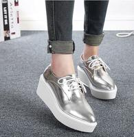 New 2014 Autumn Women's Metallic Leather Creepers Fashion Punk Flat Platform Thick Sole Square Toe Harajuku Shoes Gold/Silver