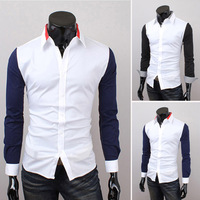 2014 Spring Fashion New Colorful Patchwork Casual Shirts Men,Korea Slim Design Outerwear Long Sleeve Shirts,Drop&Free Shipping