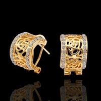 Copper 18K Gold Plated Rhinestone Hoop Earrings Jewelry,Crystal Earring,15x11mm,Holiday Gift