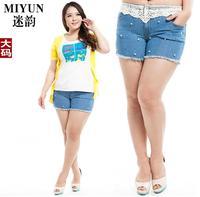 Lace Trim Nail Bead Blue Denim Shorts High Waist Hot Pants For Plump Women Ladies Relaxed Elastic Short Jeans Summer 2014 Latest