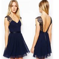 Free shipping ! 2014 new women fashion cute lace vintage sleeveless bub chiffon elegant dresses A806