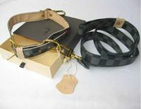 designer dog leash + collar  2pc set classic check puppy pets leather lead dark gray