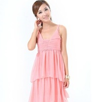 Hot Sale 2014 New Autumn Sexy Cascading Ruffle Ankle-Length Ball Gown Dress Chiffon Candy Color Strapless Dress