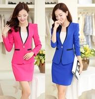 2014 New Arrival Plus Size 4XL Autumn Winter Formal Office Uniform Design Women Business Suits With Skirt Blazer Sets Work Wear