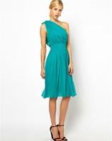 Hot Sale 2014 New Autumn Sexy Single Shoulder Draped Multilayer Strapless Dress Chiffon Slim Waist Dress Plus Size XS-XXL
