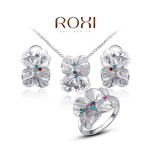 ROXI Hot Sale Jewelry Set Rose Platinum Plated Austrian Crystal Enamel Earring/Necklace/Ring Flower Set Choose Size of Ring(China (Mainland))