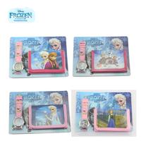 2014 NEW 4pcs/set Frozen Peppa Pig Digital watch wallet for kids baby toys