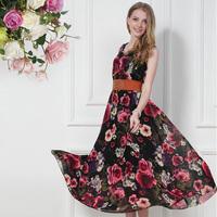 Free shipping summer 2014 new Bohemian Elegant Digital printing  Flower  Big swing plus size long  Dress  for women  with belt