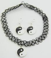 1 set Yin and Yang Tattoo Choker Elastic Necklace earring Pendant Grunge 90s Ying Festival