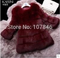 2014 Luxury Lady Genuine Natural Fox Fur Coat Jacket O-Neck Winter Women Fur Trench Outerwear Coats Overcoat VK1482