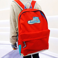 2014 new children's lovely solid color school bags decorative soccer shoes printing backpack hiking backpack bag for laptop