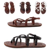 Rome Flat Heel Fashion Women's Sandals 2014 Summer Women Summer Shoes 2014 Summer Sandals Rome Black White Brown Free Shipping